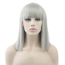 Soowee 8 видов цветов короткие прямые термостойкие синтетические волосы серый натуральный черный для женщин партии Косплей парики