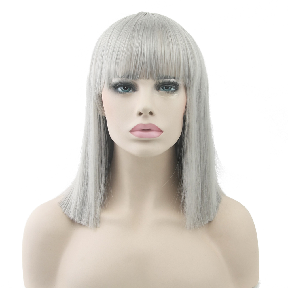 Soowee 8 Colors Short Straight Heat Resistant Synthetic Hair Gray Nature Black Women Party Cosplay Wigs