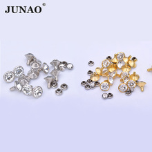 JUNAO 10mm Clear Glass Rhinestones Rivet Gold Base Spikes Studs