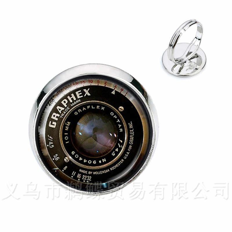 Модные регулируемые кольца Камера ювелирные изделия в виде объектива ручной работы искусство серебро/Golder 2 цвета покрытием Регулируемые кольца для женщин подарок
