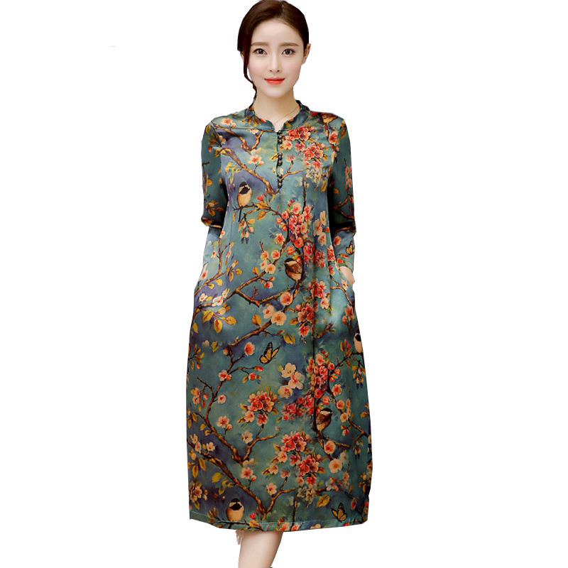 Mferlier Faux Silk Dress Women O Neck Vintage Dresses Plus Size Women Autumn Dress Flora ...