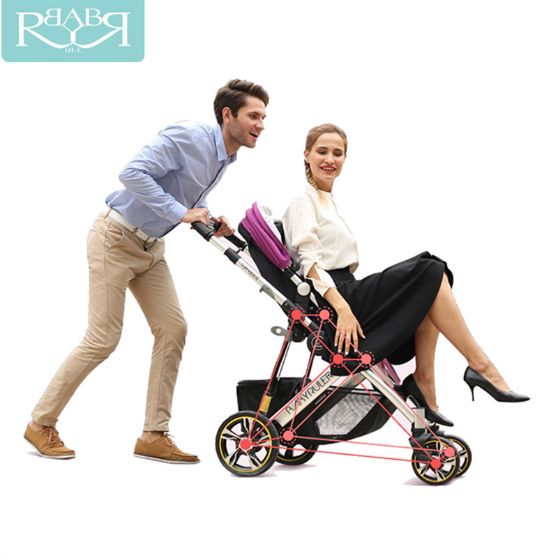 Luxury Baby Stroller 2 in 1 High Land-Scape Pram Portable Baby Carriages For Newborns Russia Free Shipping все цены