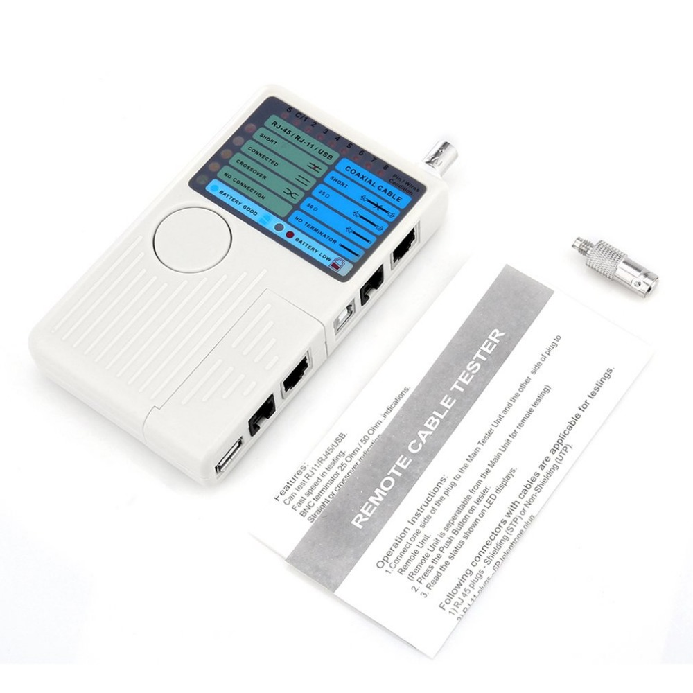 Multifunctional Remote 4 in 1 RJ11 RJ45 USB BNC LAN Network Cable Tester For UTP STP LAN Cables Tracker Detector Tool