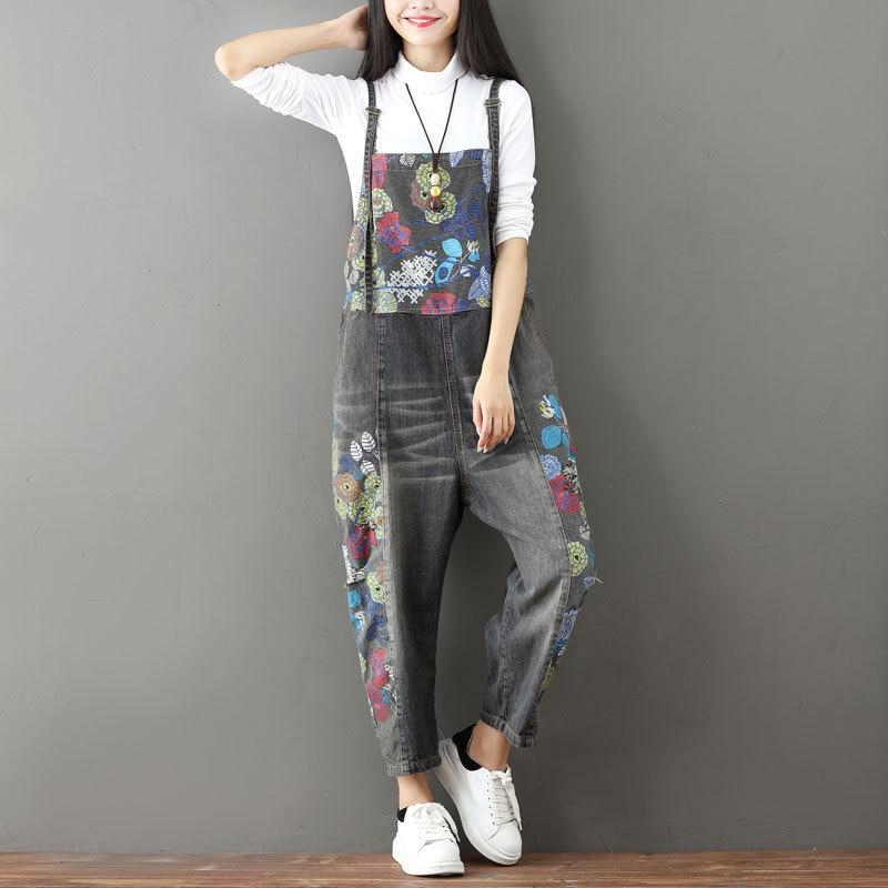 Jeans New Casual Denim Full Length Jumpsuits Summer Loose Patchwork Vintage Print 2 Colors Women Jumpsuits Bottoms