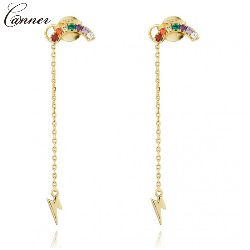 CANNER Long Tassel Earrings for Women Gold Color Chain Earings 2019 Zircon Lightning Earrings 925 Sterling Silver Jewelry Q40
