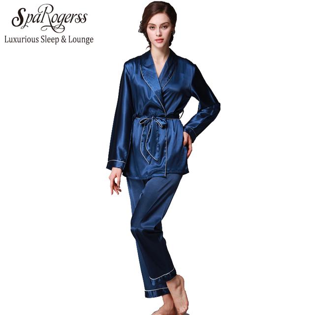 Noble Mujeres Pantalones de Pijama Del Traje Set 2017 Nueva Moda de Diseño de Imitación Señora Pijamas de seda Otoño Inicio Traje Casual 2 Unids Pijama Conjunto TZ001