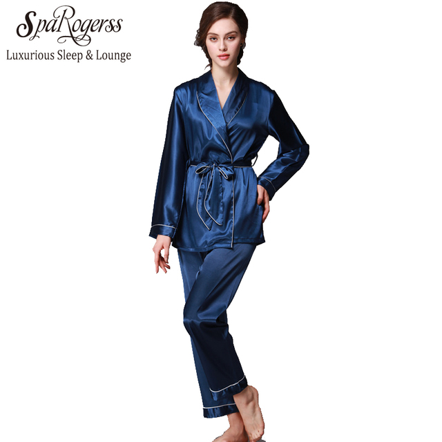 Noble Women Robe Pajama Pants Set 2017 New Fashion Design Faux Silk Lady  Pyjamas Autumn Home Suit Casual 2 Pcs Pajama Set TZ001-in Pajama Sets from  ... 859bca086
