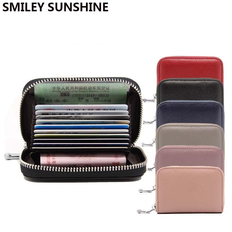 Rfid Genuine Leather Slim Card Holder Wallets Mens Women Mini Thin Wallet Purse Small Short Zipper Vallet Walet Portafoglio 2018