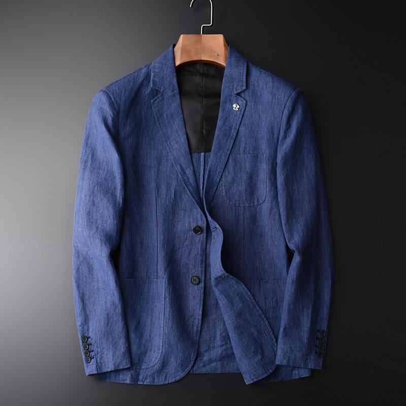 Nuovo arrivla modo Naturale Tessuto di Lino Vestito Casuale Tendenza Giovanile piccolo Primavera Cappotto Giacca Monopetto Uomini più il formato M 3XL 4XL-in Blazer da Abbigliamento da uomo su  Gruppo 2
