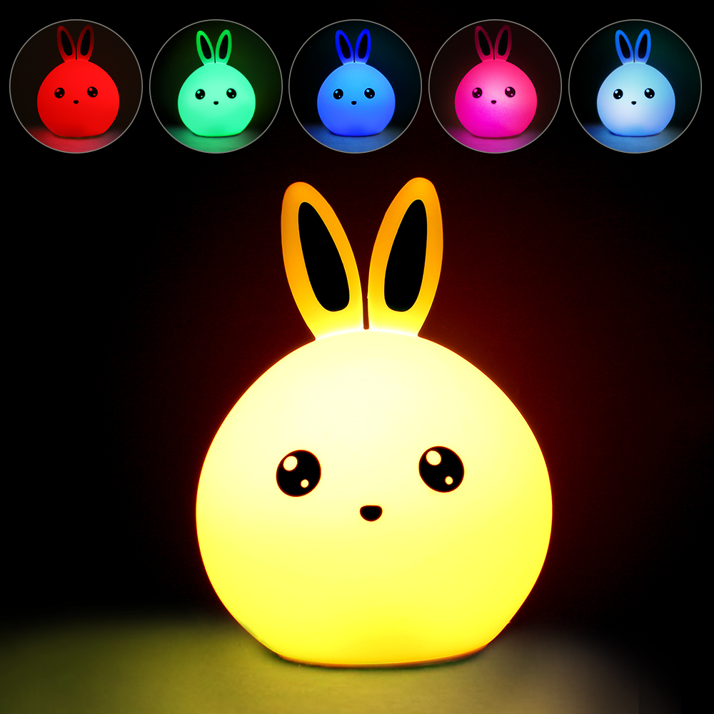 New Style Rabbit LED Night Light For Children Baby Kids Multicolor Cute Kawaii Silicone Lamp Pat Light Touch Sensor Tap Control недорого