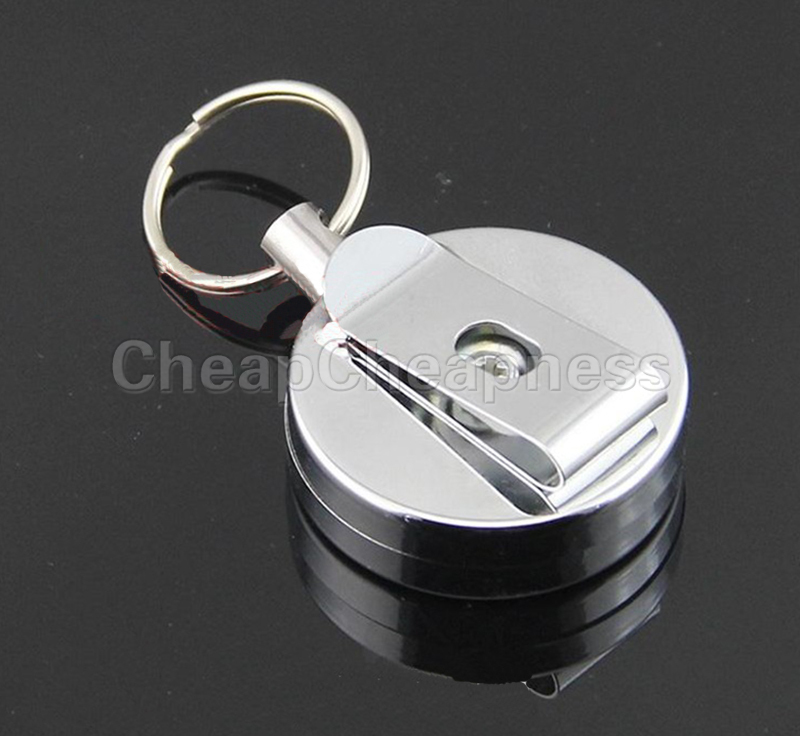Hot Selling 1Pcs Men's Mini High Quality Casual Stainless Steel Badge Reel Retractable Key Ring ID Card Holder Clips