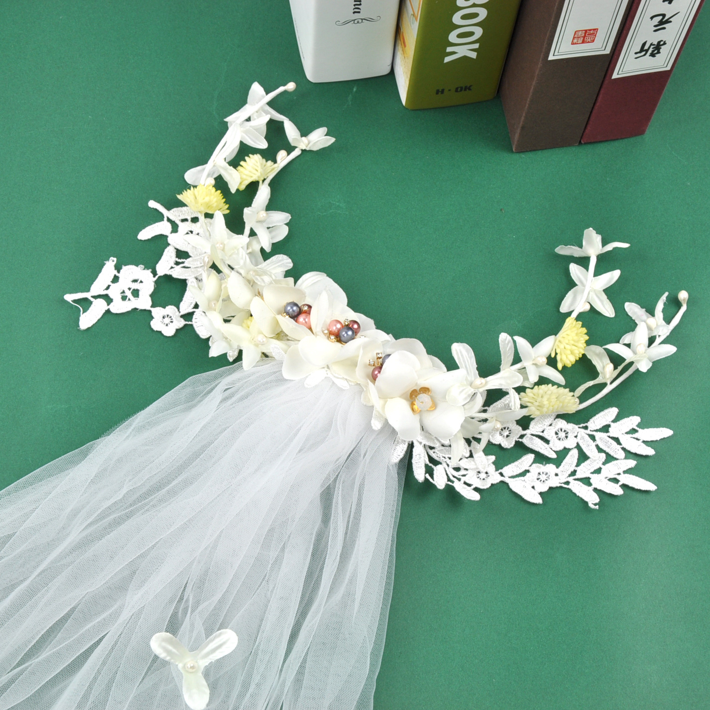 manwiisweet santos novia guirnalda cabeza salsa blanca cabeza accesorios para el cabello flor hecha a mano