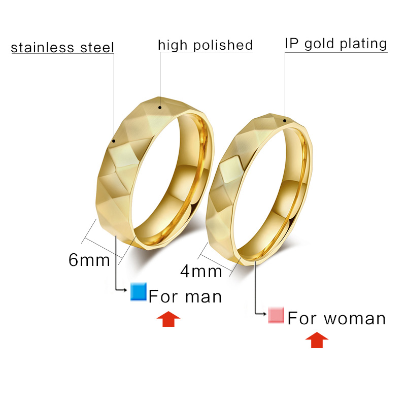 XUANPAI Gold-color Engagement Ring Unique Rhombus Style Stainless Steel Wedding Ring for Women Men Alliance Jewelry