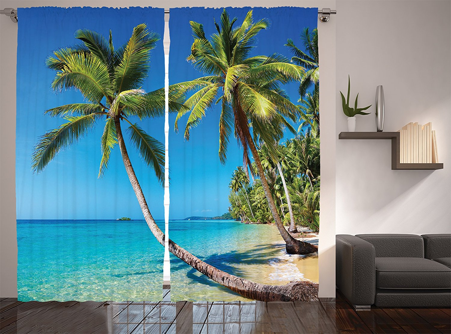 Ocean Tapestry Beach Kood Island Destination in Asian Tropical Palm Trees Landscape Print, Window Treatments Living Room