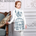 W. l. monsoon meninas de inverno vestido de princesa traje 2016 criança meninas vestidos de marca crianças roupas birdcage impressão robe fille enfant