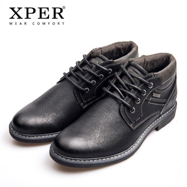 XPER брендовые текс непромокаемые ботинки мужские модные рабочие ботинки черные деловые мужские ботильоны большой размер 40-46 непромокаемая обувь хит продаж # XHY12603BL