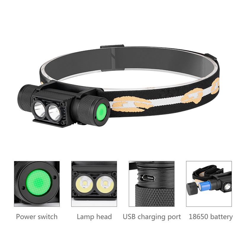 cheapest 3800LM XM-L2 LED Headlamp USB Rechargeable Flashlight Power by 18650 Battery Headlight Torch Camping Light Waterproof Work Lamp
