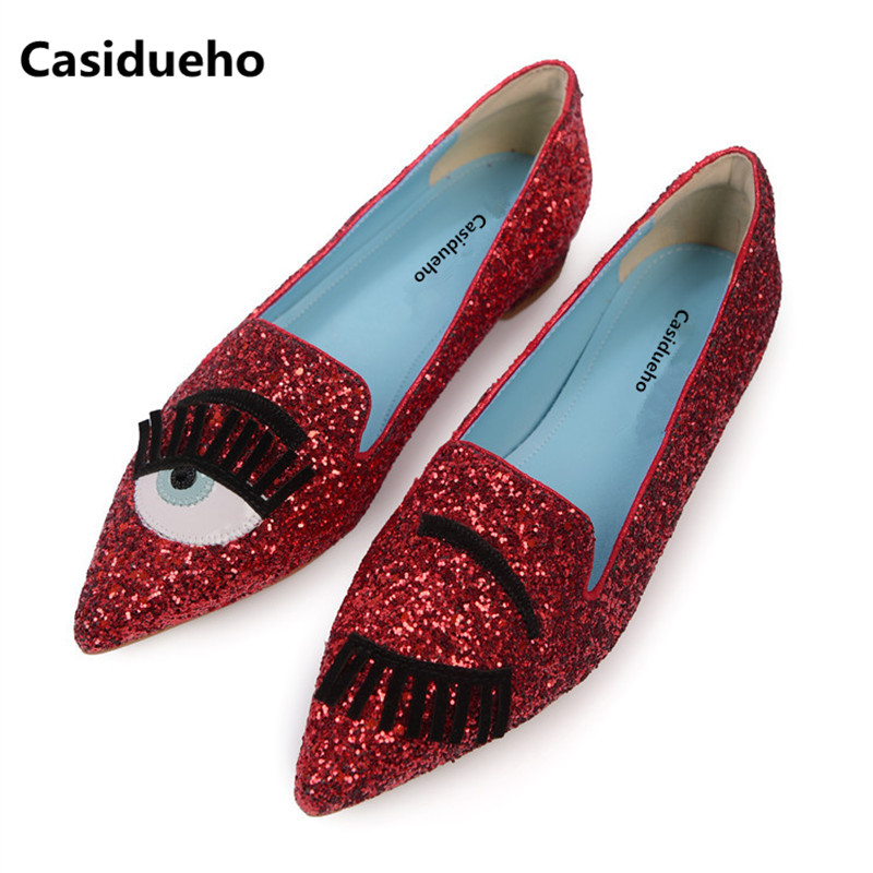 Casidueho Eyes Bling Loafers Pointy Toe Shoes Woman Glitter Flats Leather Runway Oxfords Spring Single Shoes Sandalias Mujer 40 women flats shoes woman spring glitter casual loafers black golden bling glitter flats lazy shoes size 36 40