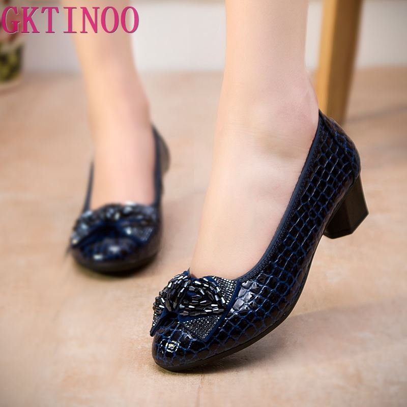 GKTINOO Women Genuine Leather High Heels Work Wedges Shoes Woman Thick Heels Rhinestone Pumps Casual Women's Shoes