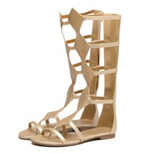 plus size 35-40 diamond cylinder leather Rome Gladiator sandals mid calf strappy fretwork summer boots open toe fald sandals