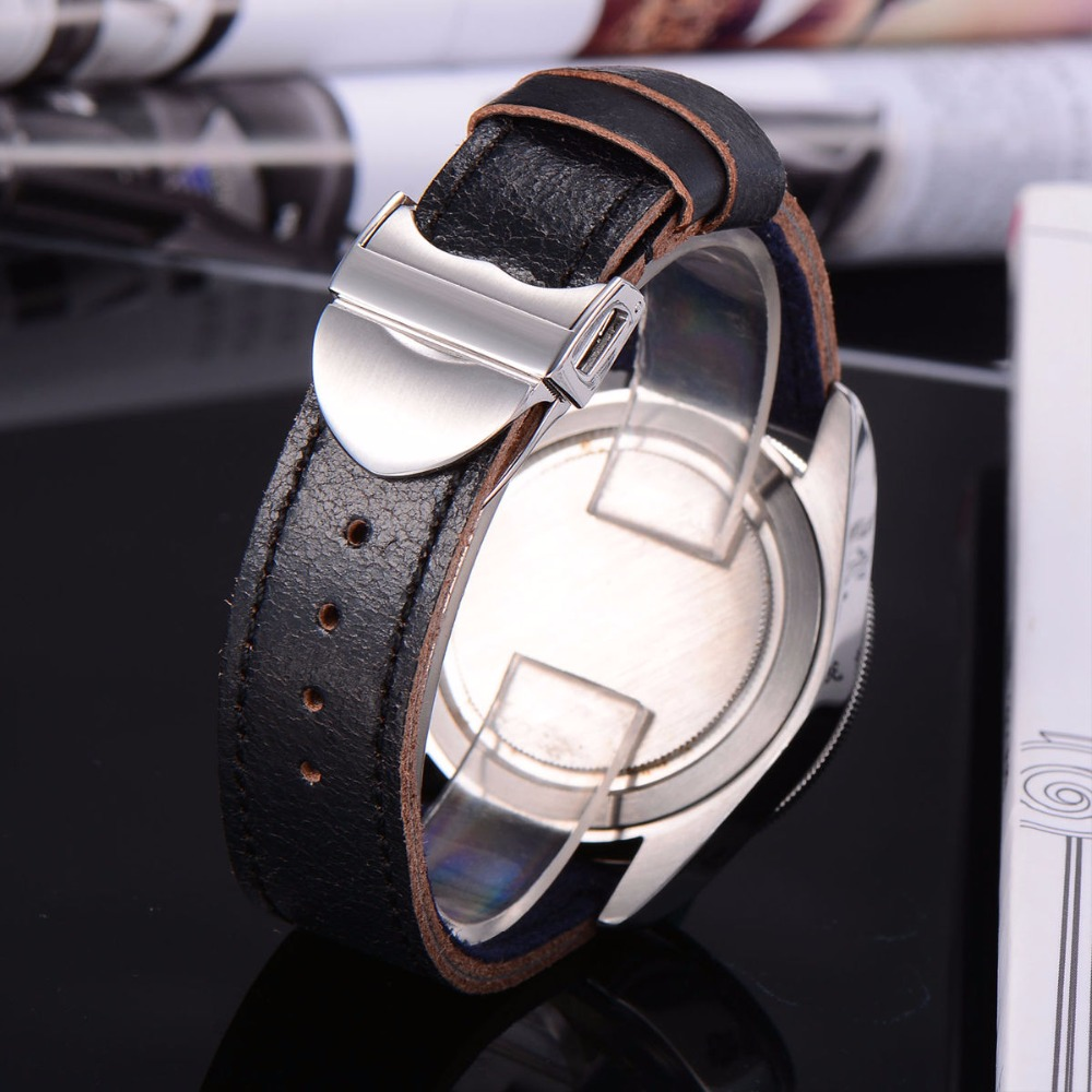 41mm Corgeut Black dial black/red bezel Sapphire Glass Luminous mechanical Automatic Mens Watch