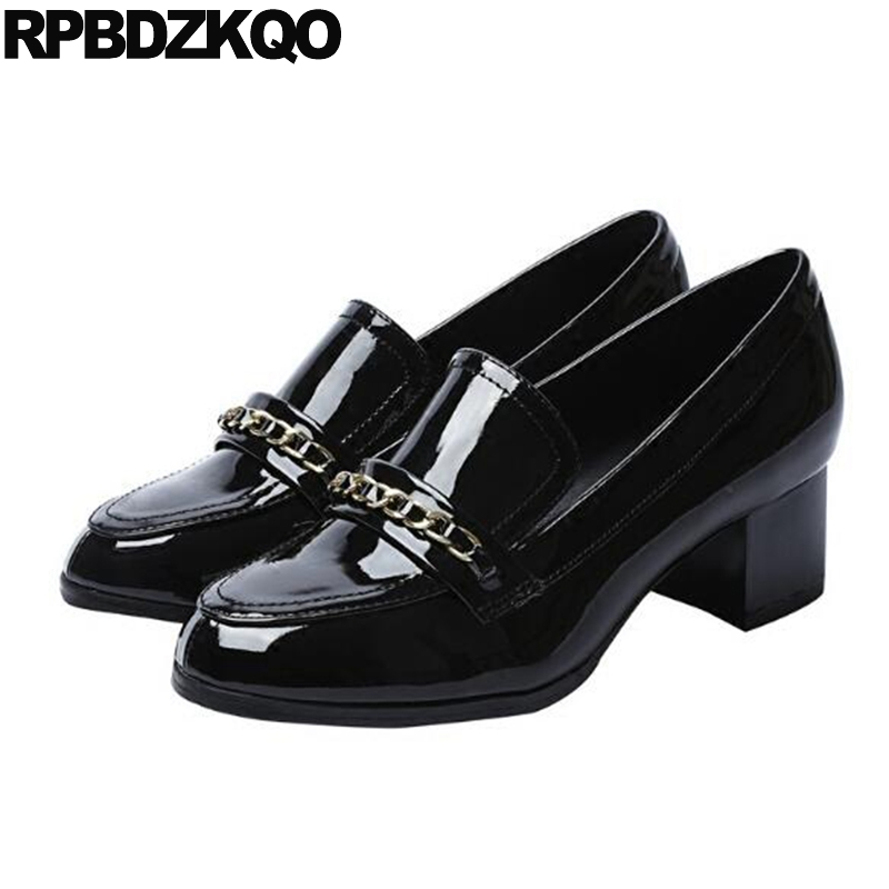 Size 4 34 2017 Closed High Heels Black Casual Shoes Women Medium Round Toe Classic Pumps Fashion Thick Patent Leather China medium round toe creepers black wedge cool shoes platform high heels size 4 34 ladies white plus casual pumps spring fashion new