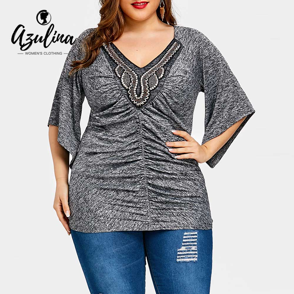 AZULINA Plus Size Marled V Neck Embellished T-Shirt Women T Shirt Summer Casual Three Quarter Long Ladies Tops Big Size Clothes