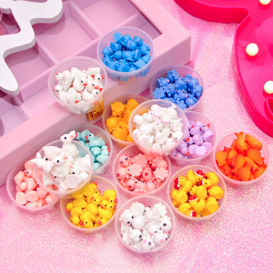 Happy Monkey In Stock 5/10pcs/box Slime Charms Toy Resin Duck Supplies Addtion Filler For Fluffy Cloud Clear Slime DIY Crafts