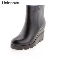 Uninnova Women's Genuine Leather Boots Winter Warm Wedge Super High Heeled Shoes Plush Black Platform Boots Fashion Boots WB007