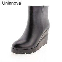 Women S Genuine Leather Boots Winter Warm Inner Wedge Super High Heeled Shoes Fur Black Platform