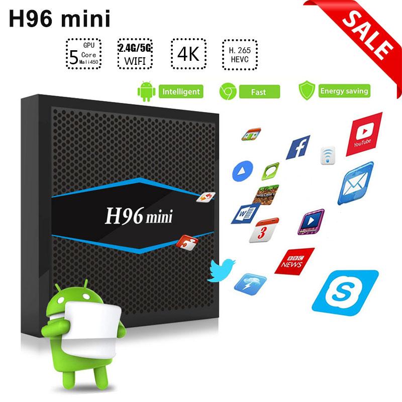 все цены на H96 mini Smart tv box android 7.1 Amlogic S905W Quad core 2GB 16GB Flash 4k 1080P HD 2.4g/5g wifi BT4.0 android tv set top box онлайн