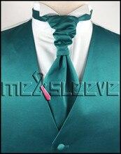 hot sale free shipping plain teal wedding dresses online(vest+ascot tie+cufflinks+handkerchief)