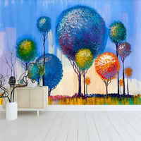 Custom 3d wallpaper abstract forest background wall hand-painted oil painting colorful mural high-grade waterproof material
