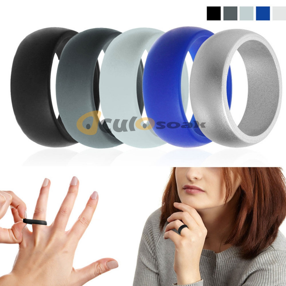 6 12 Size Hypoallergenic Crossfit Flexible Rubber Rings 8mm Food Grade FDA Silicone Finger Ring For Men Women Jewelry 7pcs set in Rings from Jewelry Accessories