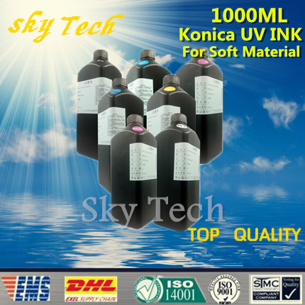 LED UV INK 1000ML*7 ,UV ink For Konica printhead UV printer .for paper leather and etc Soft materials ,K C M Y LC LM White 500ml 5 led uv ink bk c m y white uv ink for konica printhead uv printer for hard materials