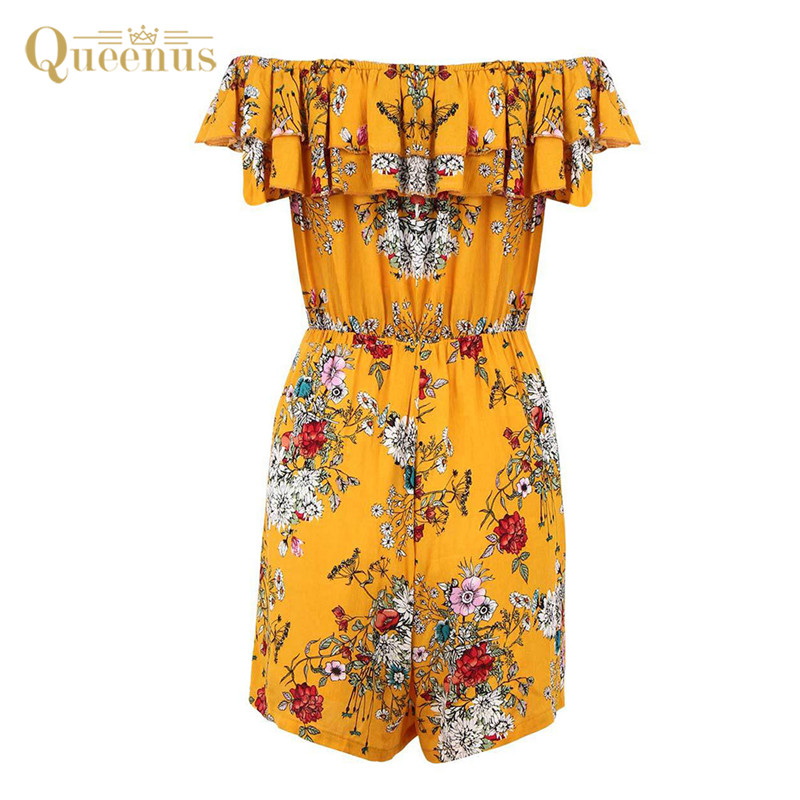 Off Shoulder Ruffle Floral Sexy jumpsuit Romper Women Empire Summer Jumpsuit Casual Chiffon Playsuit New Colorful Loose Playsuit