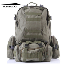ARICXI 50L Outdoor Military Molle Tactical Bag Rucksack Backpacks Vintage Hiking Camping Camouflage Water Resistant Bags 600D