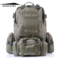 ARICXI 50L Outdoor Military Molle Tactical Bag Rucksack Backpacks Vintage Hiking Camping Camouflage Water Resistant Bags