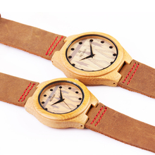 REDEAR Loves' Fashion Japan Movement Watch Casual Bamboo Wooden Wristwatch With Genuine Leather Strap Wooden Watches relogio P25
