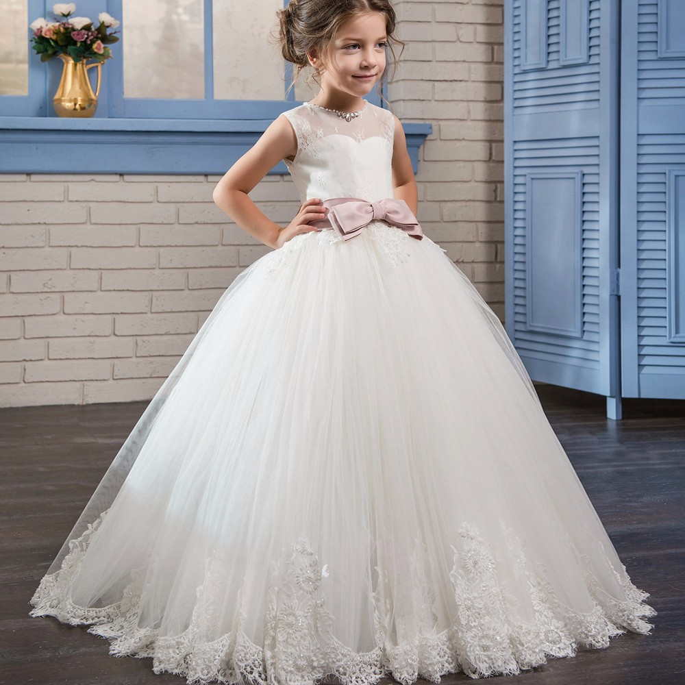 New Sleeveless Lace Beading Long   Flower     Girl     Dresses   For Wedding With Bow Sash Open Back Ball Gown   Girls   First Communion Gowns