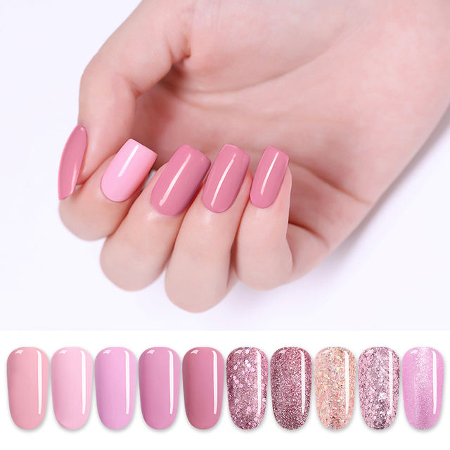 LILYCUTE Pink Glitter Gel Nail Polish