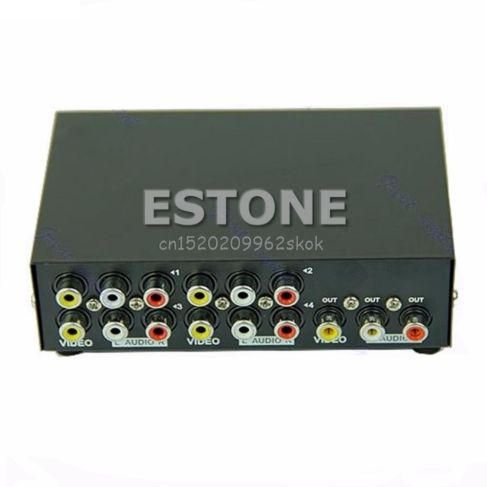 4 Port Eingang 1 Ausgang Audio Video AV CINCH Switch Switcher Selector Box # H029 #