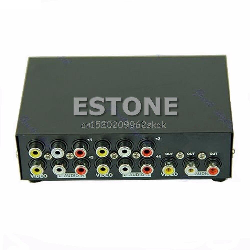 4 puerto de entrada 1 salida de Audio Video RCA AV interruptor conmutador Selector caja # H029 #