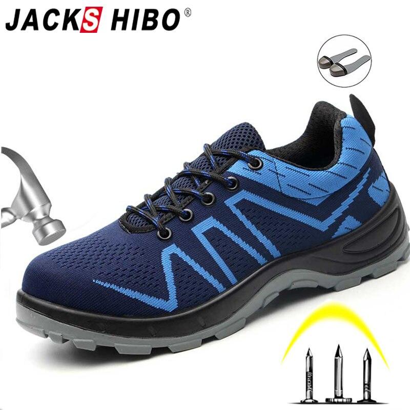 JACKSHIBO Biqueira de Aço Respirável Sapatos de Segurança Para Os Homens Sapatos de Trabalho Ao Ar Livre Anti-esmagamento piercing Masculino Botas de Trabalho de Construção