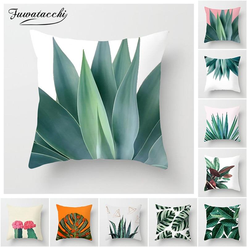 Fuwatacchi Green Cactus Cushion Cover Tropical Plant Decoration Print Polyester Throw Pillow Sofa Home Decorative Pillowcase