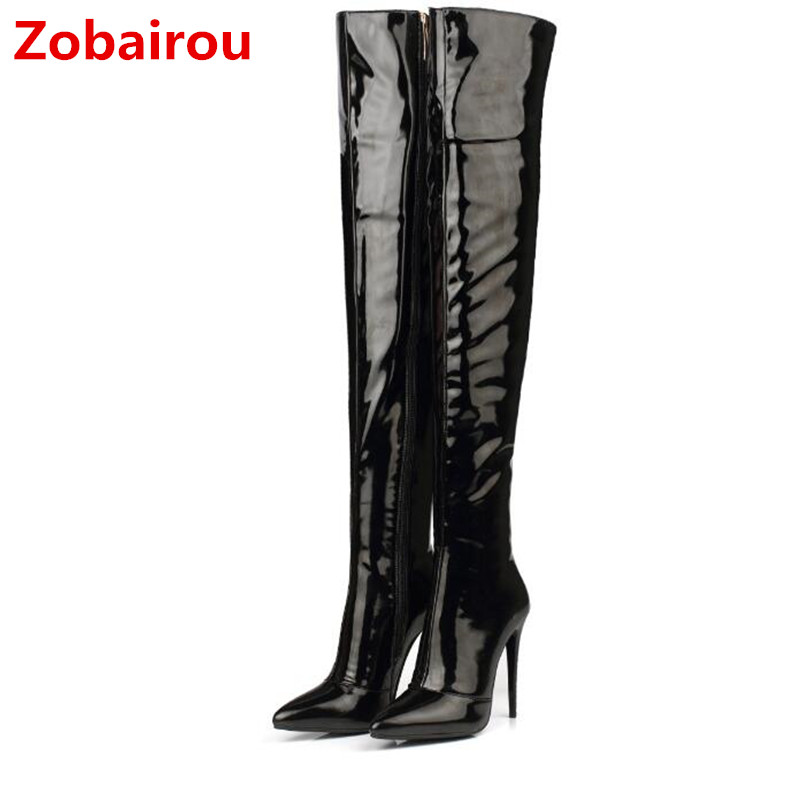 Zobairou Extreme High <font><b>Heels</b></font> Black Patent Leather Long Bota Feminina Red Latex <font><b>Sexy</b></font> Overknee Rain Boots Slim <font><b>Shoes</b></font> Woman <font><b>2018</b></font> image