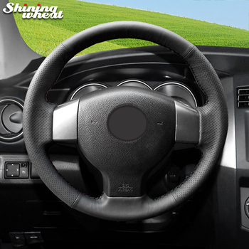 Shining wheat Black Genuine Leather Steering Wheel Cover for Old Nissan Tiida Livina Sylphy Note