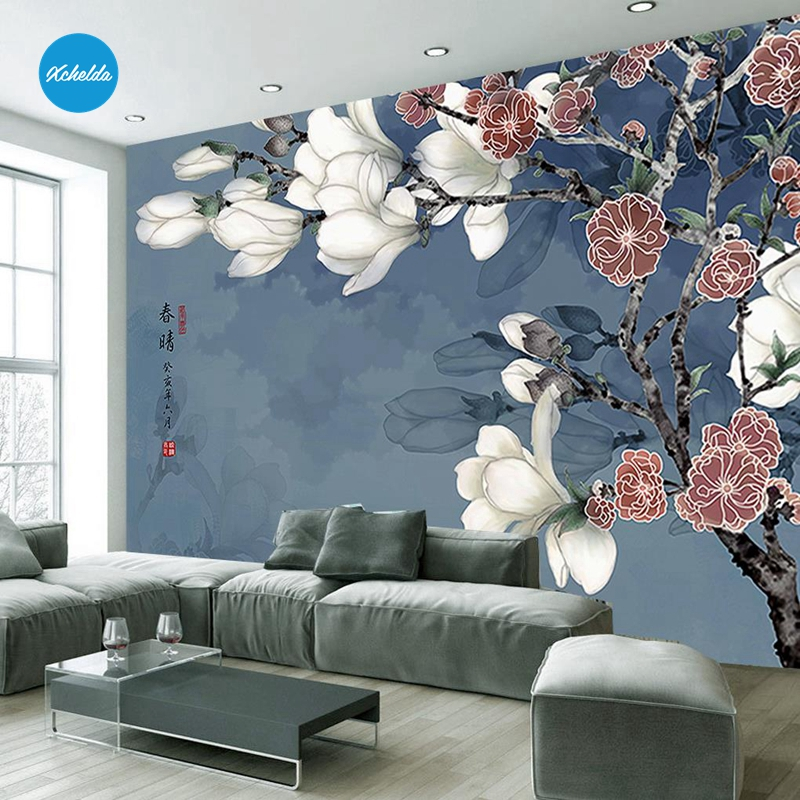XCHELDA Custom 3D Wallpaper Design Magnolia Flower Photo Kitchen Bedroom Living Room Wall Murals Papel De Parede Para Quarto xchelda custom modern luxury photo wall mural 3d wallpaper papel de parede living room tv backdrop wall paper of sakura photo