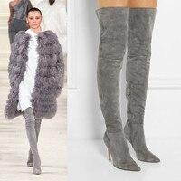 Новый 2018 Зимние женские ботинки пикантные Сапоги выше колена сапоги из натуральной кожи с острым носком Высокие каблуки высокие сапоги Жен