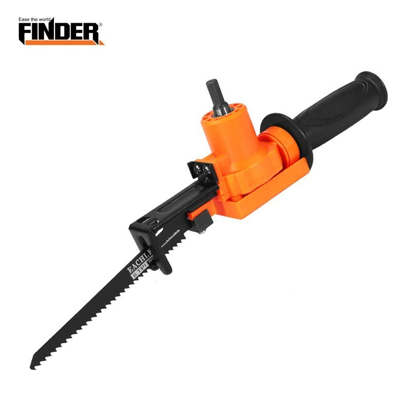 FINDER Vertical Reciprocating Saw Attachment Adapter Change Into Electric Drill 2 Blades Set For Wood Metal Power Cutting Tool